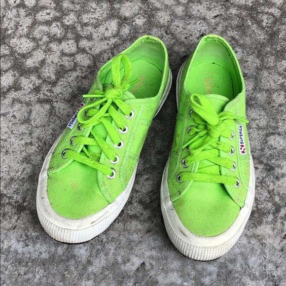 Superga Shoes   Neon Green Superga Cotu